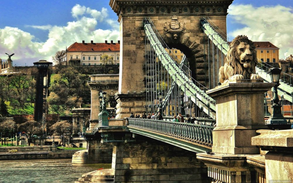 Lions on the Chain Bridge in Budapest